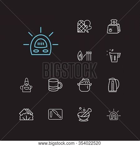 Kitchenware Icons Set. Mug And Kitchenware Icons With Toaster, Pot And Cutting Board. Set Of Device