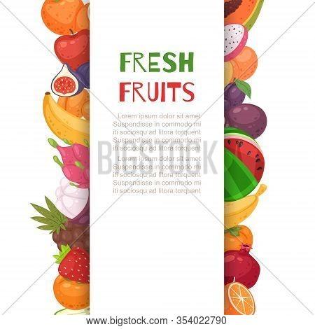 Fresh Tropical Fruits In Borders Cartoon Vector Illustration. Organic Bananas, Graipefruit, Oranges,