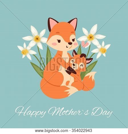 Mothers Day With Fox And Its Baby Fox Card With Beautiful Spring Flowers Cartoon Vector Illustration