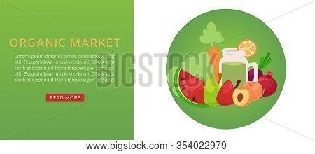 Organic Market Of Fresh Healthy Food Products For Vegetarians, Vegetables And Fruits Web Banner Cart