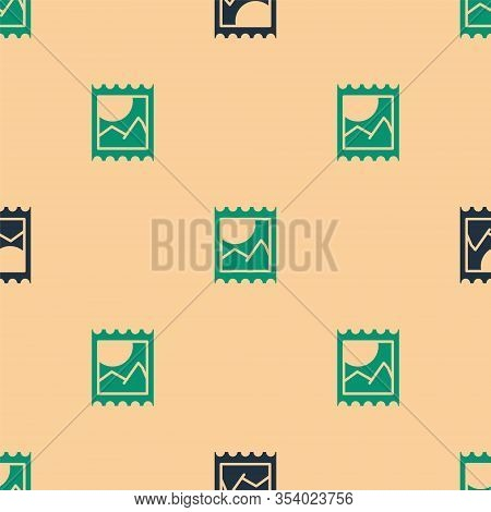 Green And Black Lsd Acid Mark Icon Isolated Seamless Pattern On Beige Background. Acid Narcotic. Pos