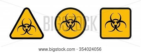Biohazard Danger Vector Isolated Icons. Hazard Sign Or Symbol. Attention Signs Biohazard. Eps 10