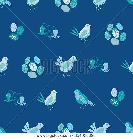 Easter Chick Seamless Vector Pattern Background. Decorated Bird And Egg Folk Art. Scandinavian Style
