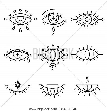 Evil Eyes Set In Hand Drawn Style. Occult, Magic And Esoteric Symbols, Line Art Collection. Decorati