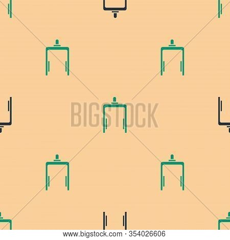 Green And Black Metal Detector In Airport Icon Isolated Seamless Pattern On Beige Background. Airpor