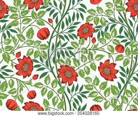 Vintage Floral Seamless Pattern With Red Flowers And Foliage On Light Background. Middle Ages Style