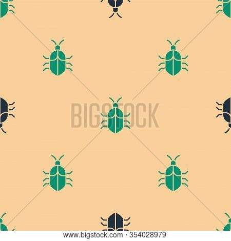 Green And Black System Bug Concept Icon Isolated Seamless Pattern On Beige Background. Code Bug Conc