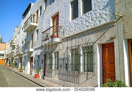 Impressive White Buildings In The Historic Tambo Matadero Neighborhood, Arequipa, Peru, 2nd May 2018