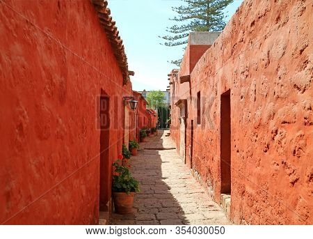 Narrow Stone Path Inside Santa Catalina Monastery, Unesco World Heritage Site, Historical Place In A