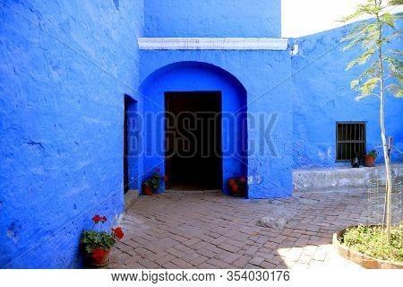 Doorway Of The Vivid Blue Old Stone Building Inside Santa Catalina Monastery, Arequipa, Peru, South