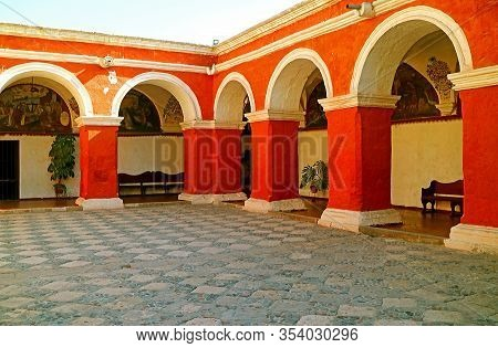 The Monastery Of Santa Catalina De Siena, Unesco World Heritage Site, Historical Place In Arequipa,