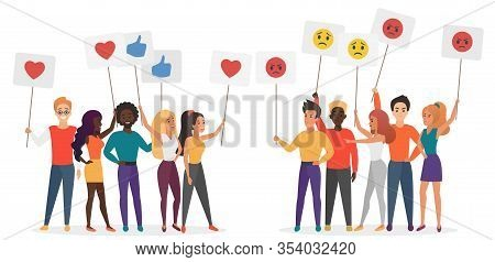 People Holding Emoji Emotions Posters Flat Vector Illustration. Social Satisfaction And Stratificati