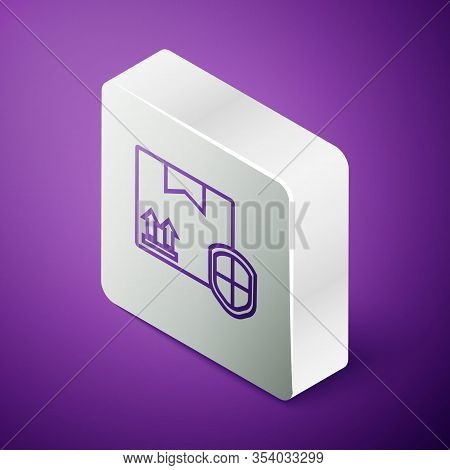Isometric Line Delivery Pack Security With Shield Icon Isolated On Purple Background. Delivery Insur