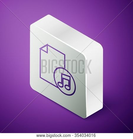 Isometric Line Music Book With Note Icon Isolated On Purple Background. Music Sheet With Note Stave.