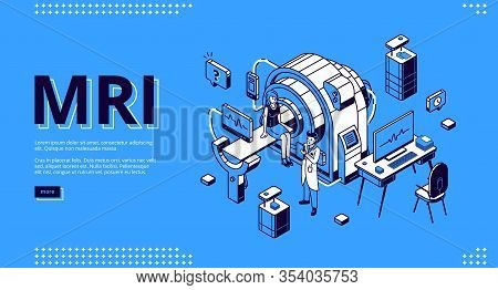 Mri Scanner With Patient And Doctor Isometric Landing Page. Woman In Room For Magnetic Resonance Ima