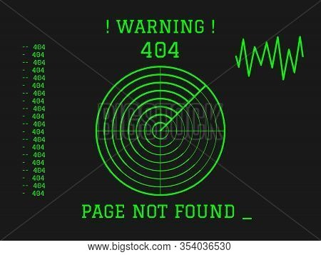404 Page Not Found Green Radar On Dark Background. Concept Internet Webpage Vector Illustration Of 4