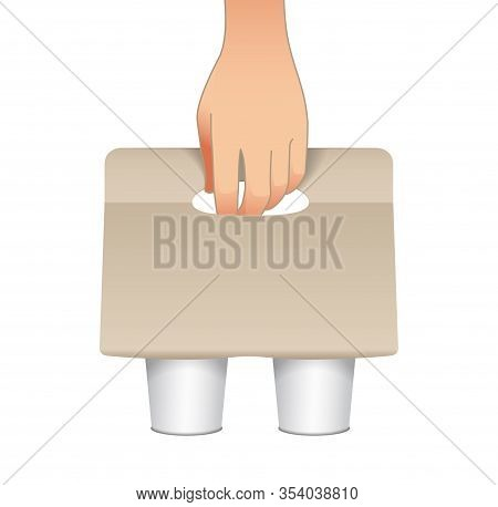 Coffee Cup Carton Holder With Paper Cups And Human Hand. Vector Paper Pack Holder Mockup. Cardboard