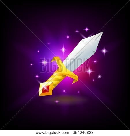 Magic Sword With Golden Hilt With Red Gemstone Slot Machine Icon, Game Design, Vector Illustration.