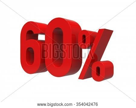 3d Render: ISOLATED Red 60% Percent Discount 3d Sign on WHITE Background, Special Offer 60% Discount Tag, Sale Up to 60 Percent Off, Sixty Percent Letters Sale Symbol, Special Offer Label