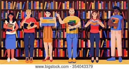Young Smiling People With Books In Bookstore. Students In University Library On Bookshelves Backgrou