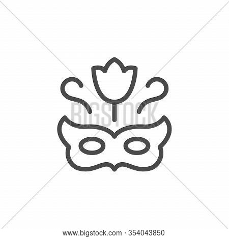 Anonymous Sender Line Outline Icon Isolated On White. Masquerade Mask And Floral Petal Sign. Anonymi