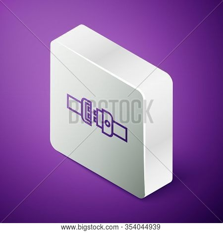 Isometric Line Safety Belt Icon Isolated On Purple Background. Seat Belt. Silver Square Button. Vect
