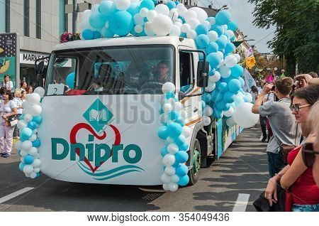 Dnipro, Ukraine - September 14, 2019: Festively Decorated Lorry On Platform Of Which There Is Carniv