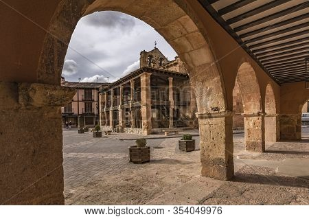 Main Square Of The Town Of Ayllon In The Province Of Segovia. Church Of San Miguel, Built In The 12T