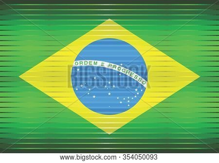 Shiny Grunge Flag Of The Brazil - Illustration,  Three Dimensional Flag Of Brazil