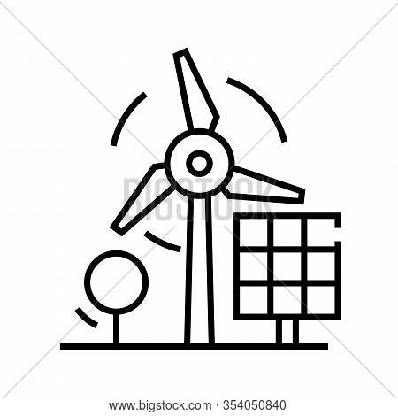 Windmill Energy Line Icon, Concept Sign, Outline Vector Illustration, Linear Symbol.