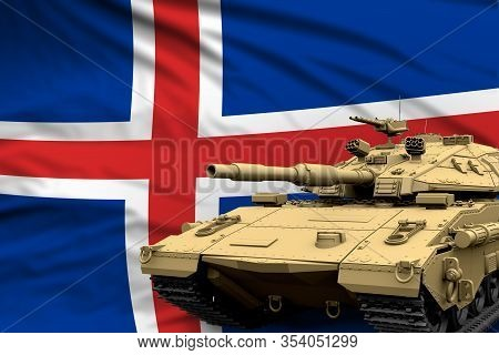 Iceland Modern Tank With Not Real Design On The Flag Background - Tank Army Forces Concept, Military