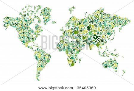 Go Green Hands World Map