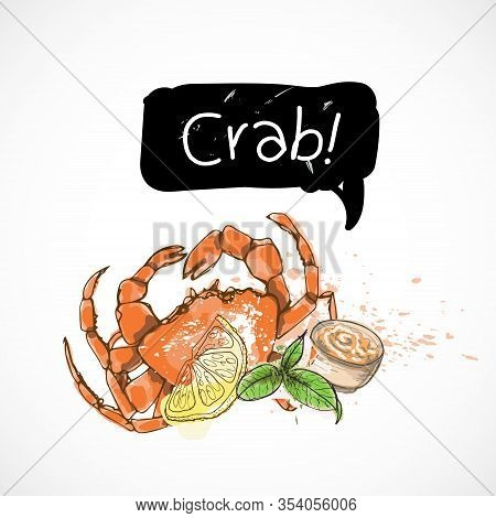 Crab Seafood Taste For Packing Or Menu Watercolor Spray Seafood Poster On White Background