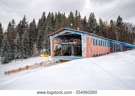 Ruzomberok, Slovakia - February 28: Cabins Ofropeway And Station Of Cableway At Resort Malino Brdo O
