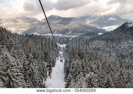 Ruzomberok, Slovakia - February 28: Cabins Ofropeway And In Great Fatra Mountains At Resort Malino B