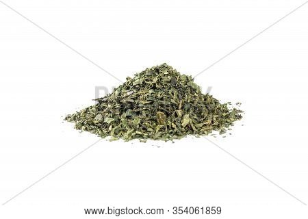 Dried Nettle Herb Or In Latin Utricae Folium Heap Of Isolated On White Background. Medicinal Healing