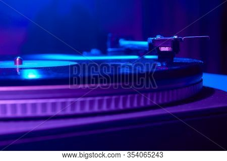Retro Wave, 80s. Record Player With Neon Light. Vinyl Analog Turntable. Synthwave And Vaporwave Conc