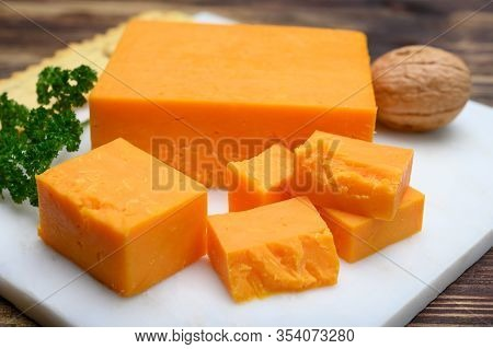 Leicestershire Cheese Or Red Leicester, British Hard Cheese Made From Cow Milk