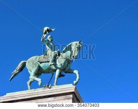 Guillaume Ii Orange-nassau, King Of Netherlands, Grand Duke Of Luxembourg. Green Bronze Equestrian S