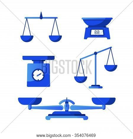 Set Of Scales. Bowls Of Scales In Balance Isolated On White Background. Libra, Vector Illustration