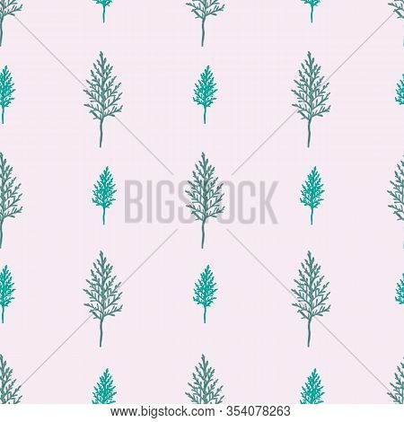 Cypress Leaves-wild Leaves Seamless Repeat Pattern. Lines Of Decorative Cypress Leaves In Shades Of