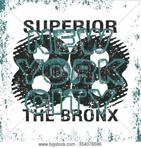 New York Typography, T-shirt Bronx, Design Graphic, Printing Man Nyc
