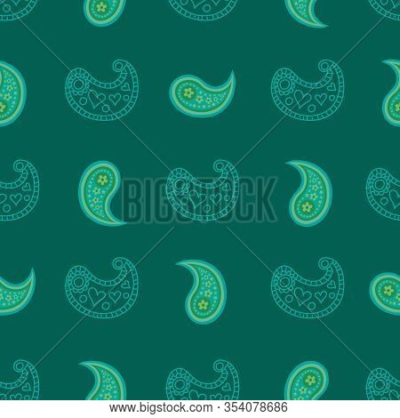 Paisley In Green-paisley Dreams Seamless Repeat Pattern. Pattern Of Abstract Paisley Shapes. Fresh P