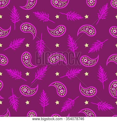 Cypress Paisley Decor -wild Leaves Seamless Repeat Pattern. Abstract Leaves And Paisley Seamless Rep