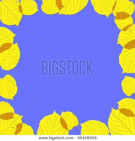 Autumn leaves frame on the blue background