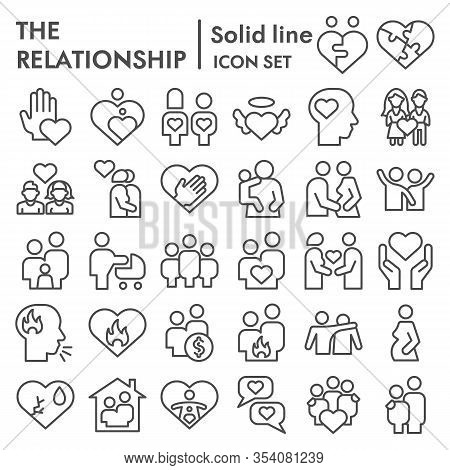 Relationship Line Icon Set. People Connection Collection, Vector Sketches, Logo Illustrations, Web S