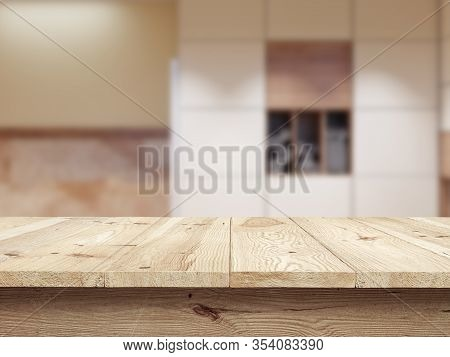 Wooden Tablet On Interior Bokeh Background. Table And Fon