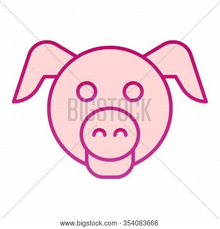 Pig Head Flat Icon. Minimal Pig Face Symbol, Domestic Farm Hog. Animals Vector Design Concept, Gradi