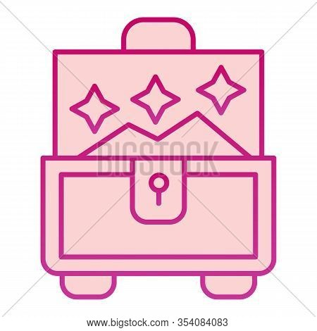 Jewellery Chest Flat Icon. Box For Accessory Vector Illustration Isolated On White. Treasure Chest G