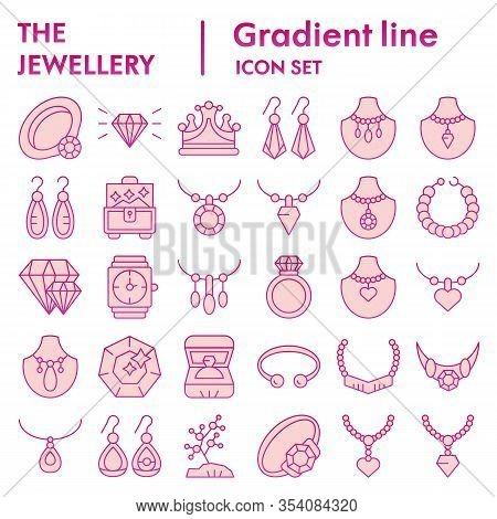 Jewellery Color Icon Set. Bijouterie Accessories Symbols Collection, Vector Sketches, Logo Illustrat